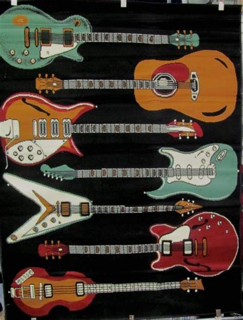 guitar area rug 5 x 8 rock electric guitar design area carpet rug 1a ebay