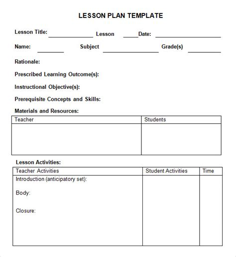 lesson plan template word doc sle weekly lesson plan 8 documents in word excel pdf