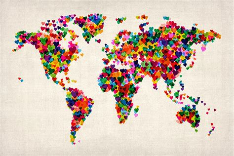 the art of world love hearts map of the world map by michael tompsett