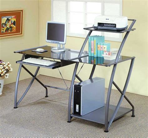 Steel Computer Desk Office Furniture Computer Desks Metal And Glass Desk Glass Desk Office Depot Office Ideas