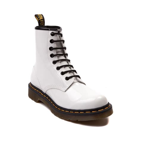 womens dr martens 8 eye boot white patent journeys shoes