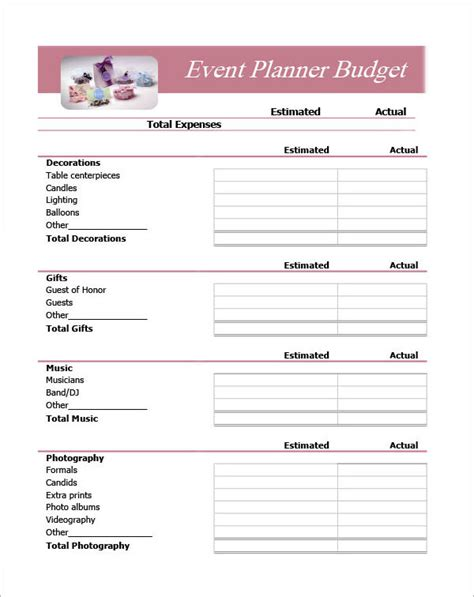 event planning template doc