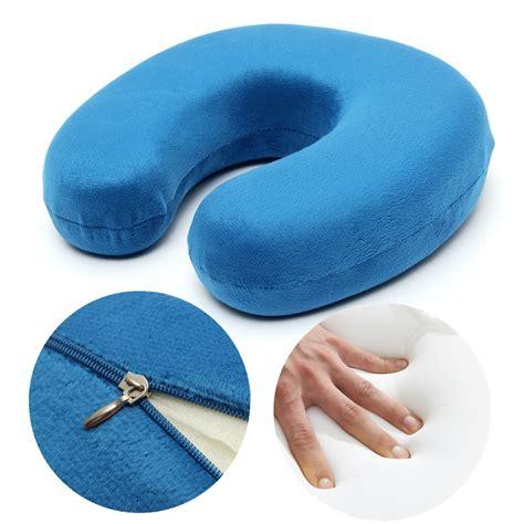neck comfort pillow blue soft velour memory foam u shape pillow comfort