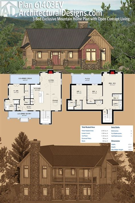 mountain architecture floor plans plan 61403ev three bed exclusive mountain home plan with