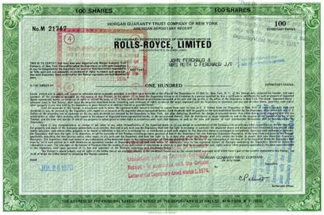 rolls royce shares rolls royce limited adr shares 1971