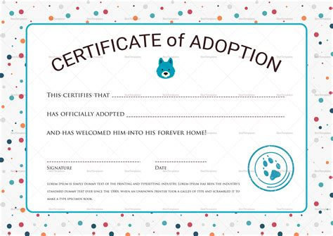 certificate of adoption template certificate of adoption design template in psd word