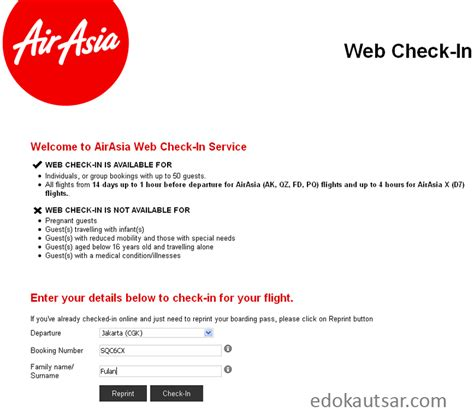 airasia indonesia check in pengalaman web check in maskapai airasia indonesia edo