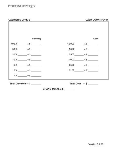 cash count sheet template balance sheet template money