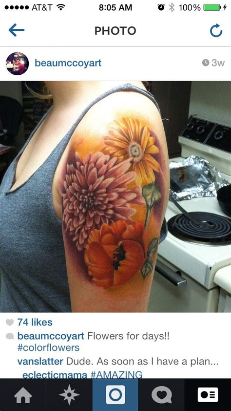 capital ink tattoo chrysanthemum poppy and sunflower artist beau
