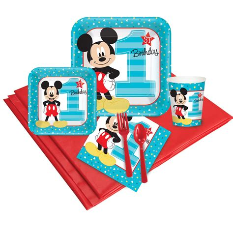 St Mickey Mouse Grey Cc mickey mouse 1st birthday deluxe tableware kit serves 8
