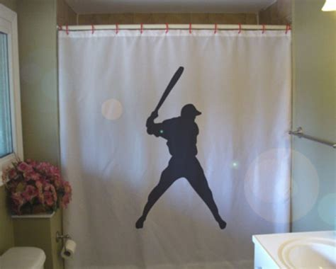 sports bathroom decor baseball swing shower curtain bat sport major league boy fun