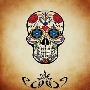 Flower Sugar Skull - kostenlose illustration totenkopf rosen bunt
