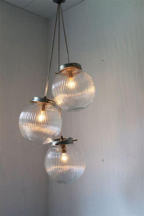 3 Globe Light Fixture Sparkling Cluster Chandelier Lighting Fixture 3 Ribbed Glass Holophane Globes