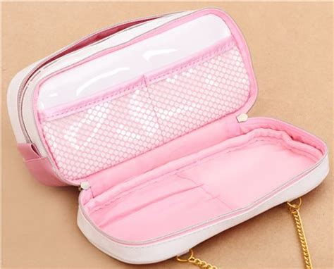 Pouch Bag Set Import Pink 1 kawaii white and pink metallic cat perfume pouch pencil