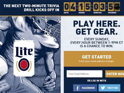 Miller Lite Sweepstakes - the miller lite football 2 minute drill sweepstakes