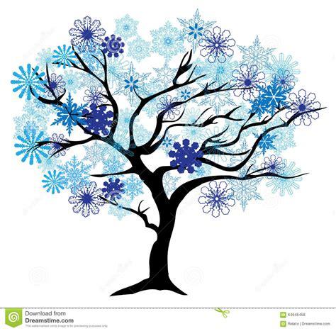winter tree snowflakes stock vector winter tree stock photo image 64646458