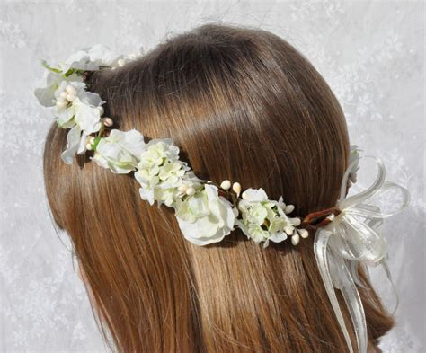 flower wreaths for hair white sweet pea hydrangea with berries communion or