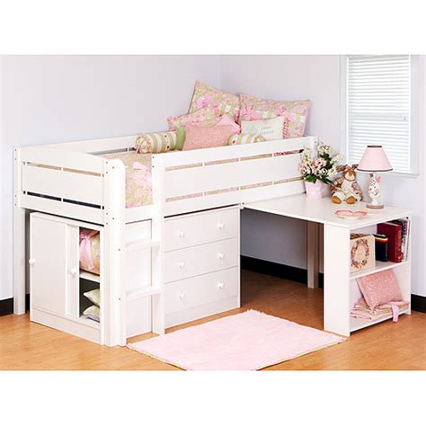 White Loft Bed With Desk Underneath by Loft Bed With Desk Plans Wooden Global