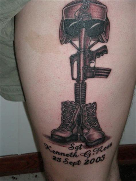 military memorial tattoo designs memorial soldier on leg