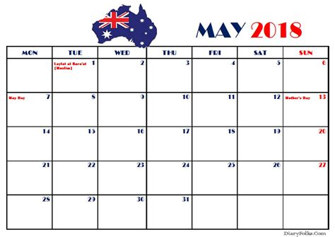 printable calendar australia 2018 may 2018 australia calendar with holidays