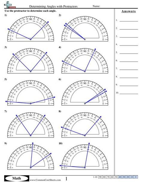printable protractor games determining angles with protractors worksheet math