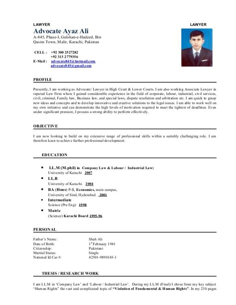 Sample Resume Objectives Teachers by Lawyer Cv Advocate Ayaz Ali