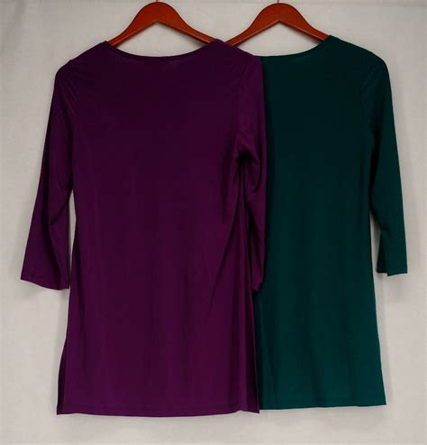 knit tunic tops slinky top s 2 pack stretch knit 3 4 sleeve tunic tops
