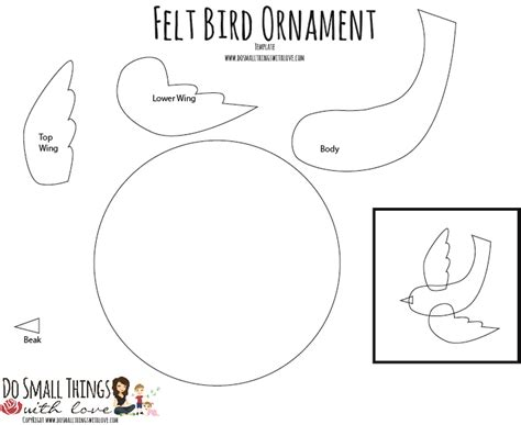bird ornament template bird in flight felt ornament do small things with