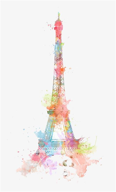 color clip eiffel tower watercolor ink color png image and clipart