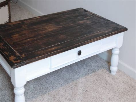 painted antique white and distressed wood coffee table