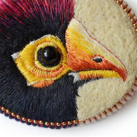 Handmade Felt Brooches - touraco brooch handmade felt needle felted