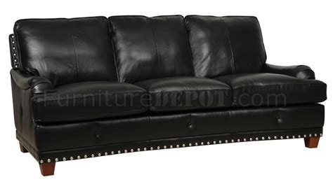Black Full Italian Leather Classic 4pc Sofa Set W Nailhead