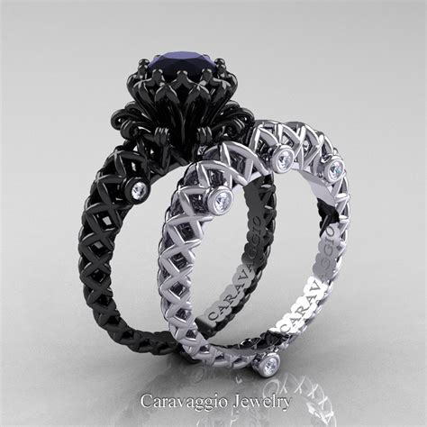 caravaggio lace 14k black and white gold 1 0 ct black and