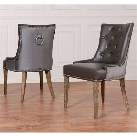 uptown leather velvet dining chair set of 2