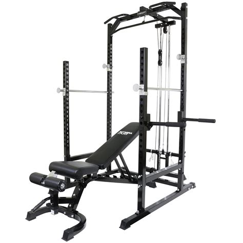 half rack weight bench mirafit half power cage rack cable pull down with