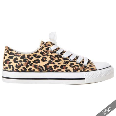 womens leopard print flat shoes womens leopard print sneakers low top fashion plimsolls