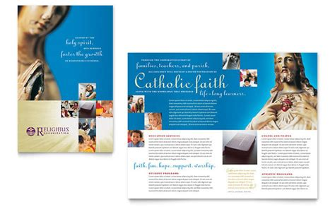 High School Brochure Template by Catholic Parish And School Brochure Template Design