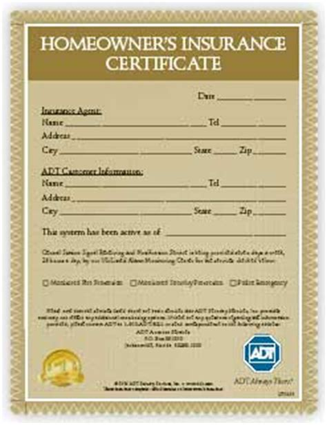 alarm installation certificate template adt home security benefits of adt home security