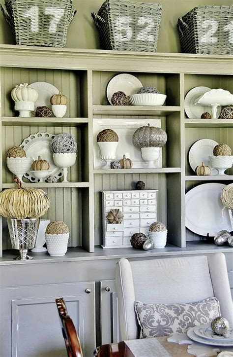 fall decorating ideas for the dining room hutch