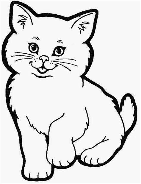 latihan mewarnai gambar kucing  lucu  imut