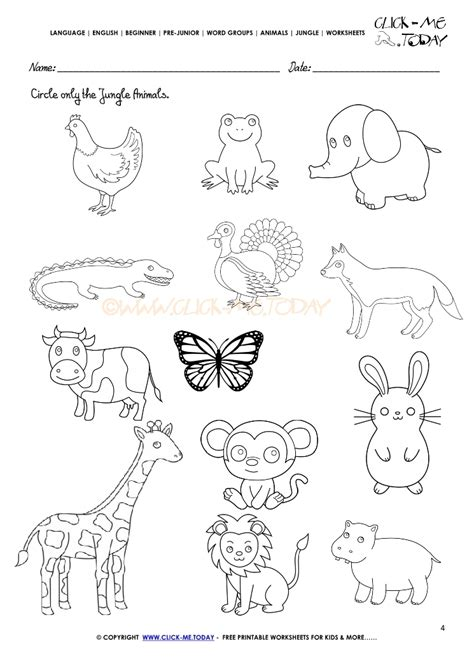 jungle animals coloring pages preschool jungle animals worksheet activity sheet circle 4