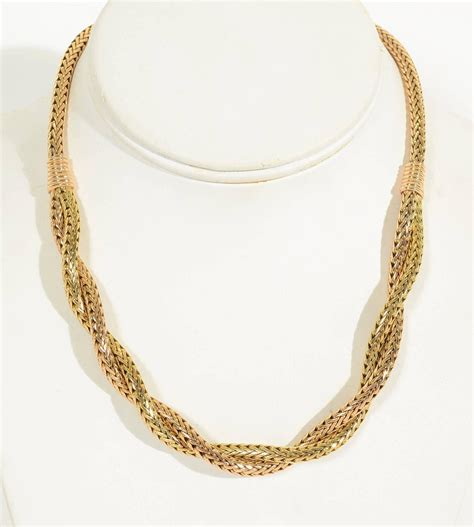 herringbone pattern gold necklace retro two color gold herringbone necklace for sale at 1stdibs