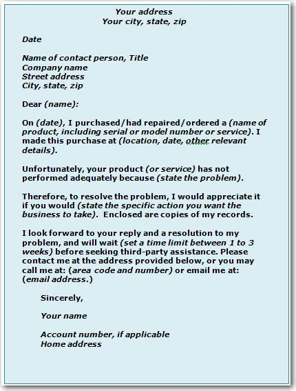 business letters complaint sles how to help yourself ways to solve a problem with a business