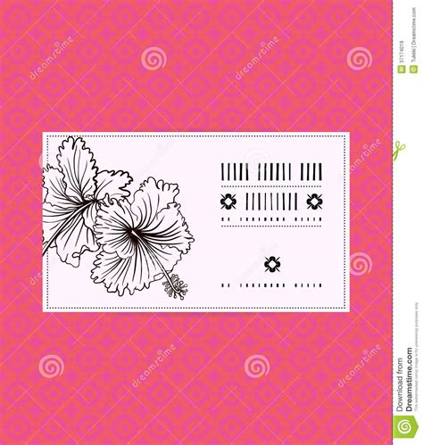 hibiscus card template vector vintage card with hibiscus flower stock vector