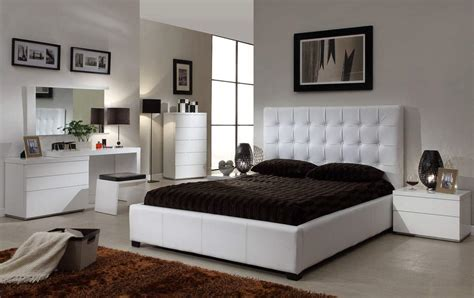 Simply Modern Bedroom With quality leather designer furniture collection with extra