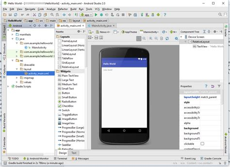 android studio create menu layout your first android java program hello world tek eye
