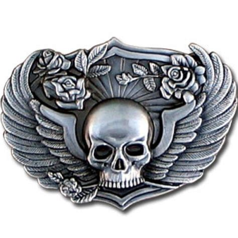skull amp wings antiqued belt buckle beltbuckle com