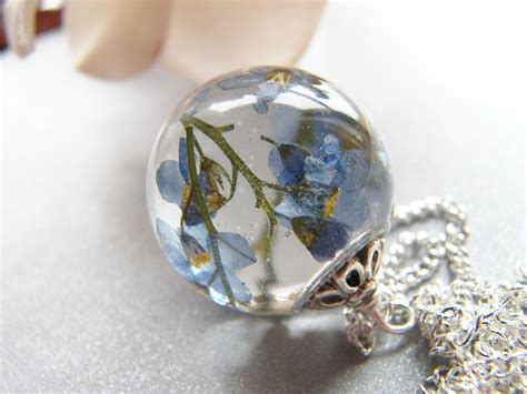 resin flowers for jewelry forget me not necklace flower necklace something blue