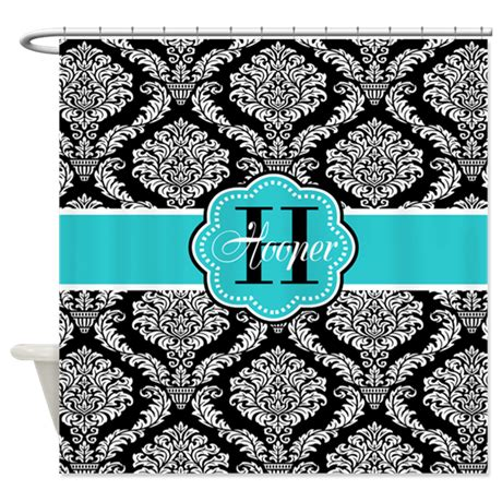 black and teal shower curtain black teal damask personalized shower curtain by