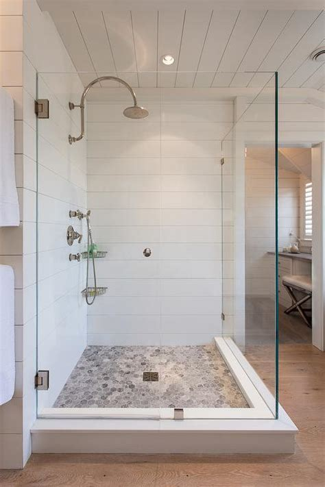 Bathroom Tile Floor And Decor Shower With Bardiglio Marble Hex Tile Floor Cottage